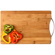 FastUnbox Wooden Bamboo Kitchen Chopping/Cutting/Slicing Board with Holder for Fruit & Vegetables(Color in Photo) (Wooden)