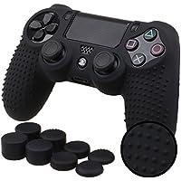 Pandaren® STUDDED Silikon Hülle Anti-Rutsch für PS4 controller x 1 ( schwarz) + FPS PRO thumb grips aufsätze x 8