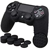 Picture Of Pandaren® STUDDED silicone cover skin anti-slip for PS4/ SLIM/ PRO controller x 1(black) + FPS PRO thumb grips x 8