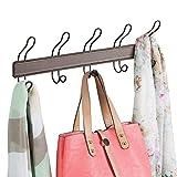 mDesign praktische Hakenleiste für Flur und Bad – Wandgarderobe mit 5 doppelten Garderobenhaken – Haken zur Aufbewahrung von Mänteln, Jacken, Schals und Handtüchern – braun und bronzefarben