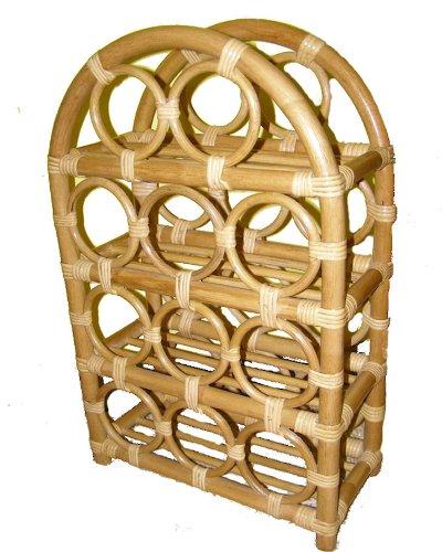 Rattanregal für 11 Weinflaschen , Fb. honig , Gr. B 41 cm , T 20 cm , H 64 cm