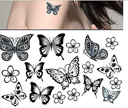 H097 - (Aq-008) Temporäre Flash Tattoo Aufkleber Schmetterlinge Farineine temporäre Körper Aufkleber Tattoo Aufkleber Blatt für - Frau