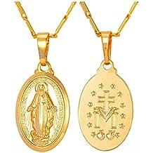 BOBIJOO Jewelry - Grand Pendentif 4cm Homme Médaille Vierge Miraculeuse  Marie Acier Or + Chaîne 3296545e8aa