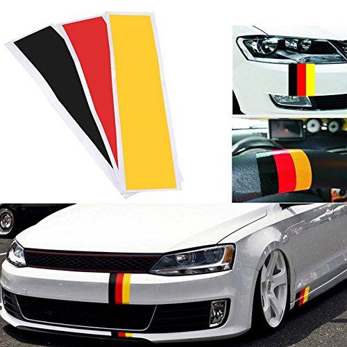 Nierenaufkleber,3-teiliges hochwertiges Aufkleber-Set,Deutsch Flagge Design,3 verschiedenen Farben im Set (Schwarz,Rot, Gelb)