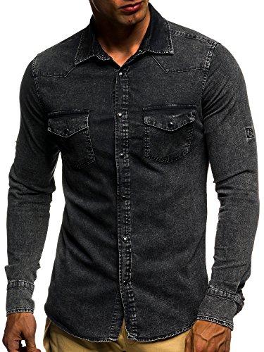LEIF NELSON Herren Jeans Hemd Slim Fit BŸgelleicht Trend Langarm Freizeit Denim; Grš§e S, Schwarz