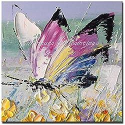 DACEHome Peinture À L'Huile sur Toile,Série Papillons Colorés, Fleurs Jaune, Rose Couteau Épais Peinture, Lucky, Libre, Animal Décoration Salon Studio
