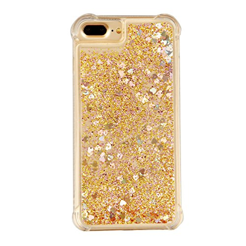 3C-LIFE iPhone6 Plus [1Case + 1Holding Strap] Cute Shiny Luxury Floating Glitter Case Girls Women Sparkle Bling Quicksand Liquid Cover Clear TPU Bumper Case for iPhone6 Plus (Gold) (Plus Cover Bling Iphone6)