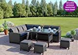 9 Seater Rattan Corner Garden Sofa Dining Set Furniture INCLUDES PROTECTIVE COVER Black Brown Dark Mixed Grey (Black with Dark Cushions)