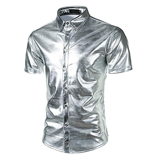 Metallic Glänzend Kurzarmshirt Glitzer Schlank Fit Kostüm für Nightclub Party Tanzen Disco Halloween Cosplay (XL, Silber) (Theater Kostüme Halloween)