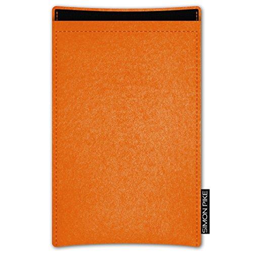 SIMON PIKE Apple iPhone SE/5S/5C/5 Filztasche Case Hülle 'Boston' in petrol 15, passgenau maßgefertigte Filz Schutzhülle aus echtem Natur Wollfilz, dünne Tasche im schlanken Slim Fit Design für das iP orange Filz (Muster 1)