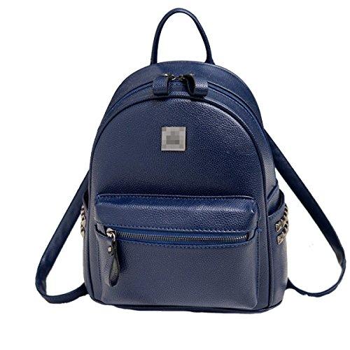 Damen PU Leder Rucksack Mode Doppel Umhängetasche Freizeit Persönlichkeit Mini Kleine Tasche Blue