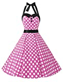 Dressystar Vintage Polka Dot Retro Cocktail Prom Dresses 50's 60's Rockabilly Bandage Pink White Dot s