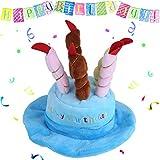 Fdit Pet Geburtstag Party Hat Katze Hund Colorful Kerzen Party Hat mit Kuchen Pet Kostüm-Accessoire für Hunde Katzen Kleine Tiere, Blau