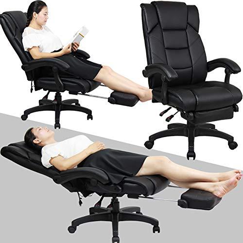 ZDYLM-Y Massage-Bürostuhl, Multifunktions-170-Grad-Verstellung, 6-teiliges Multifunktionsmassagegerät mit ausziehbarer Fußstütze