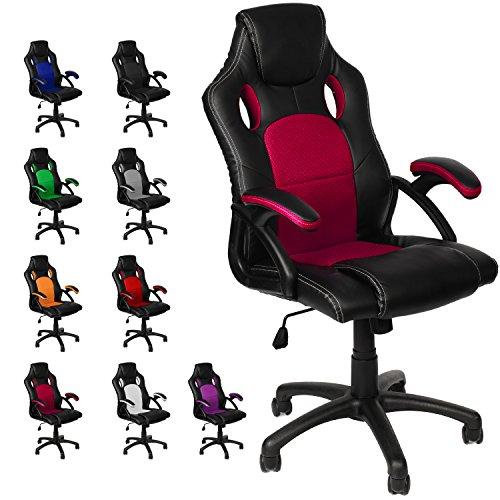 Gamer Stuhl Gaming Schreibtischstuhl Chefsessel Bürostuhl Ergonomisch, Weinrot, 9 Farbvarianten, gepolsterte Armlehnen, Wippmechanik, belastbar bis 150 kg, Lift TÜV geprüft, Panorama24 -