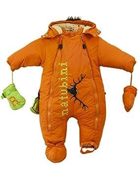 natubini Designer Schneeanzug Herzgeweih - wattierter SnowKids Overall, geräumige Kapuze, Fake-Fur-Irokese, Hotchpotch-Pocket...