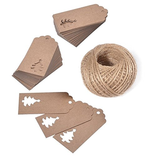 OxoxO 100PCS Brown Christmas Gift Craft tags Hang Paper/Kraft Tag with 30M Jute Twine Perfect for Decorating Christmas Tree Handmade Work