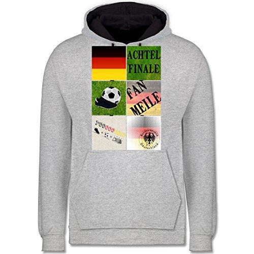 Fußball-WM 2018 - Russland - Deutschland Achtelfinale Fan Shirt - Kontrast Hoodie Grau meliert/Dunkelblau