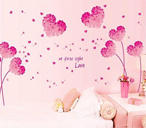 Cuadro Romántico de Corazones Rosados Pegatinas de Pared para Parejas Flores en Forma de Corazón,Marcos de Fotos & Letras de Palabras de Amor Decorativo Extraíble DIY Vinilo Pared Calcomanías para Sala de Estar, Dormitorio Mural
