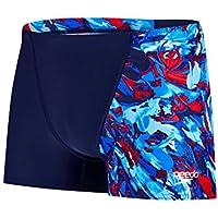 Speedo Allover V Bañador, Hombre, Azul (Navy/Bondi / Lava Red), 36