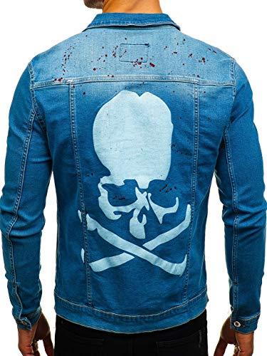 BOLF Herren Jeansjacke Denim Übergangsjacke Casual Street Style Otantik 2052-1 Blau M [4D4] | 05902646923697