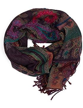 Bufanda Pashmina de Punjab, India, bordado à mano y calentita, estampado Paisley, 180 x 70 cm - 100% lana - muchos...