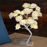 CozyHome LED Baum Rosen Stehbaum - 45CM Hoch | 24 LEDs warm-weiß - kein lästiges austauschen der Batterien | NICHT batterie-betrieben sondern mit Netzstecker
