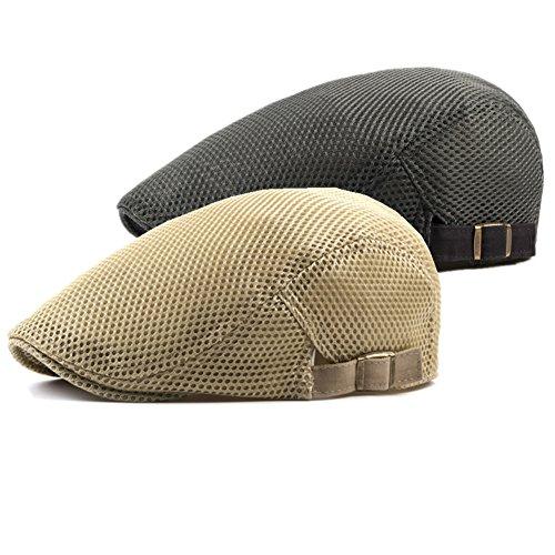 e0cbac87f1d Decstore 2 Pack Men s Cotton Flat Cap Beret Ivy Cabbie Hunting Hat Summer  Newsboy Cap(