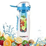 YOUNGDO 900ML Fruit Infuser Water Bottle - Premium, Durable, Large - BPA Free Tritan,Flip Lid,Extra Safe 100% Leak-Proof Design - Outdoor Sports Bottle for Running,Cycling,Camping,Yoga, Hiking, Traveling,Health (Blue)