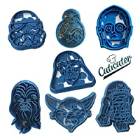 Darth Vader, Stormtrooper, BB8, C3PO, R2D2, Yoda, Chewbacca from Star Wars. The Cookie Cutters are a Two Pieces pusher. Part 1 outline Cutting Part 2 Drawing inside with push button The Heigh is variabe 7 cm to 8 cm do not Expose to heat do n...
