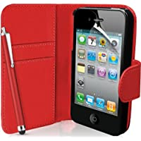 Supergets Flipcase für Apple iPhone 4 / 4S (Brieftaschendesign, inkl. Displayschutzfolie, Bedienstift und Reinigungstuch) I love RED color
