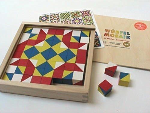 Liebe Handarbeit 46128 Cube Mosaic, 64 cube in Holzkasrben Basic colors 523