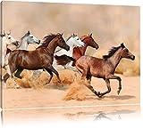 Western Pferde in Wüste Format: 100x70 auf Leinwand, XXL riesige Bilder fertig gerahmt mit Keilrahmen, Kunstdruck auf Wandbild mit Rahmen, günstiger als Gemälde oder Ölbild, kein Poster oder Plakat