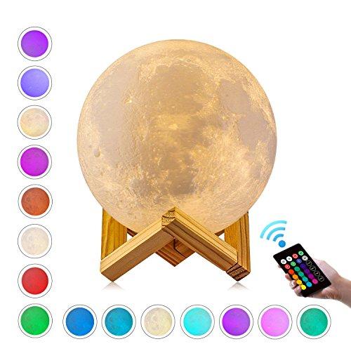 """Lámpara de Luna, GDREAMT 16 Colores 3D Lámpara de Luna 15cm, Control Remoto & Control Tactil Luz, Regulable Luz Carga Usb con Soporte de Madera para Dormitorio Decoración Regalo 5.9"""""""