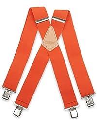 "Brimarc Mens Heavy Duty Orange Braces Trouser Belt Suspender 2"" 50mm Wide"