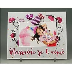 Cadre Photo Aimant pour Marraine - (Cadeaux originaux pour Parrain Marraine - Baptême, Anniversaire, Noël.)
