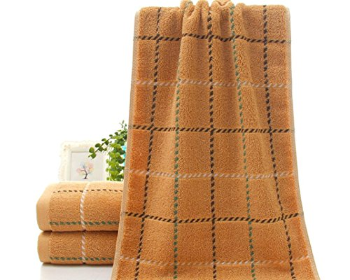 NO.1 COFFEE & TEA PRODUCTS XXFFH BATH TOWEL COTTON LARGE GRID COUPLE FACE TOWEL (35 * 75 INCHES) , COFFEE , 35*75 BEST BUY REVIEWS UK