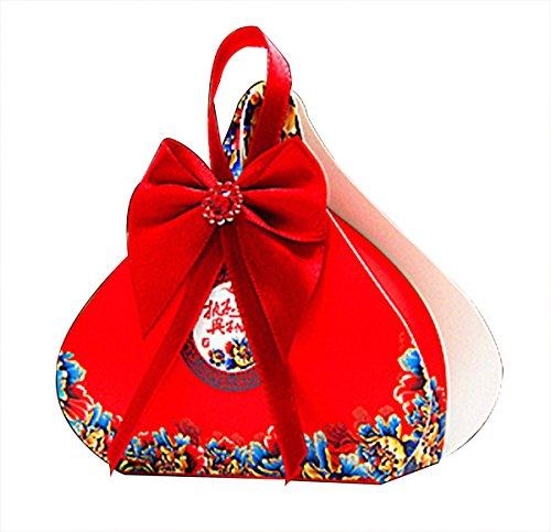 chinarot Arthochzeit Bevorzugungskästen Honig Hochzeit Bevorzugungen Süßigkeiten Verpackung mit rotem Band 20pieces (Bonbons oder Pralinen nicht enthalten) (Personalisiert Band Hochzeit Für Bevorzugungen)