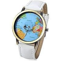 Leopard Shop-Mappa del mondo, al quarzo, con cinturino in pelle, quadrante bianco