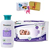 Himalaya Herbals Baby Lotion (100ml)+Himalaya Herbals Soothing Baby Wipes (12 Sheets) With Happy Baby Luxurious Kids Soap With Toy (100gm)