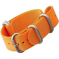 Nylon Watch Strap by ZULUDIVER®, Brushed ZULU Buckles, Orange, 22mm