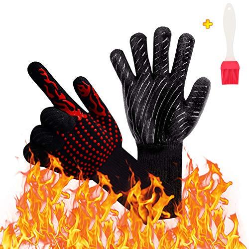 Coolin BBQ Grill Handschuhe 1472 ℉ Extrem hitzebeständige, feuerfeste, isolierte und langlebige Topflappen mit EN407-Zertifikat für Aramid- und Silikonhandschuhe