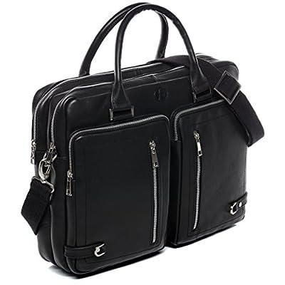 FERGÉ grand XL sacoche ordinateur portable cuir véritable 15.4 pouces BETH sac porte-document en bandoulière sac messager noir