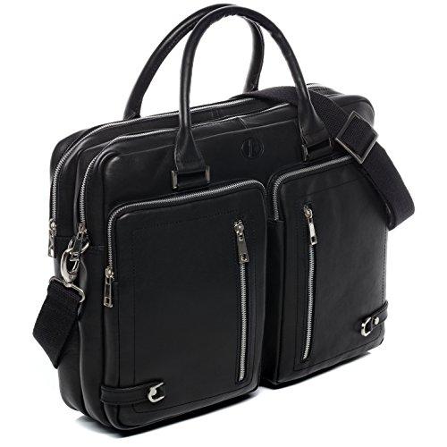 FERGÉ sac pour ordinateur portable BETH - grand XL cartable messager sac business 15.4 classeur pouces - sac à bandoulière homme femme noir cuir véritable