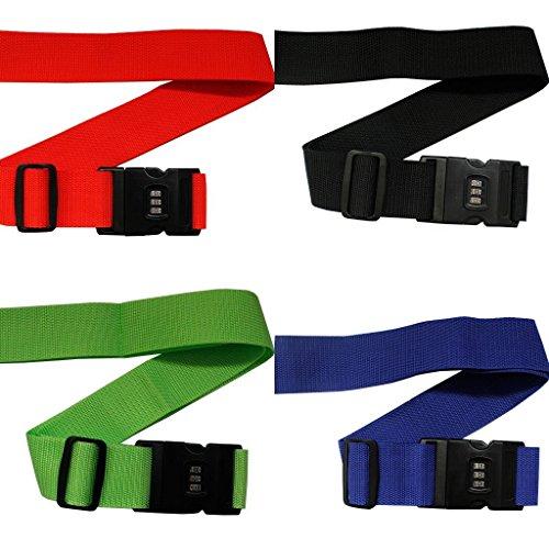 Pack 4 Resistentes Correas con Cierre para Equipaje por Kurtzy - Sets Cinturones Ajustables para Maletas con Fuerte Candado Plástico de Combinación - Candado con Etiqueta de Nombre y Dirección Incorpo