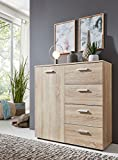 BMG Möbel Schubladenkommode Sideboard Malaga 2 in Sonoma Eiche - Made in Germany -