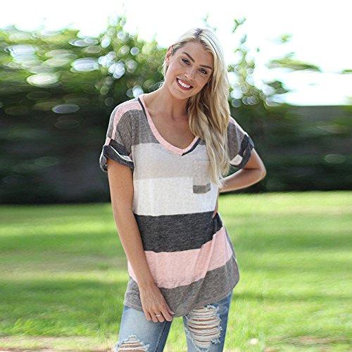 Chemisier Femme,Xjp®T-shirt Rayé à Manches Courtes à Encolure En V Gris