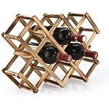 Clytius Wine Rack - Foldable Wooden Wine Rack Organizer, Wine Display Shelf - Wine Bottle Holder, 45 X 31 X 12Cm, Capacity 10 Bottle (Carbonized Color, Pack Of 1)