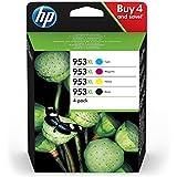 HP 953XL Multipack (Schwarz, Rot, Gelb, Blau) Original Druckerpatronen mit hoher Reichweite für HP Officejet Pro 8210, 8710, 8720, 8730, 8740