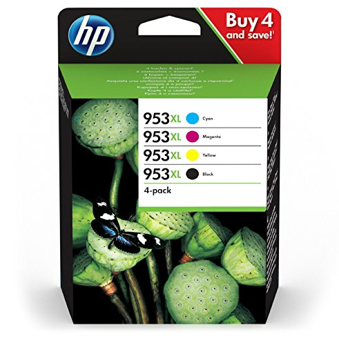 HP 953XL Multipack (Schwarz, Rot, Gelb, Blau) Original Druckerpatronen mit hoher Reichweite für HP Officejet Pro 8210, 8710, 8720, 8730, 8740 -